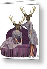Deer Twins In Purple Greeting Card by Kelly McLaughlan