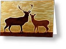 Deers Lookout Greeting Card by Georgeta Blanaru