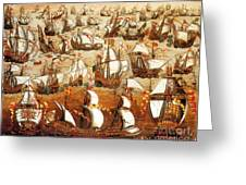 Defeat Of The Spanish Armada 1588 Greeting Card by Photo Researchers