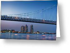 Delaware River Ben Franklin Bridge Downtown Night Phila Pa Greeting Card by David  Zanzinger