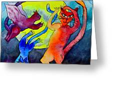Demon Cats Dance By The Light Of The Moon Greeting Card by Beverley Harper Tinsley