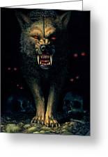 Demon Wolf Greeting Card by MGL Studio - Chris Hiett