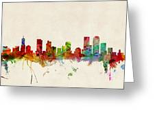 Denver Colorado Skyline Greeting Card by Michael Tompsett