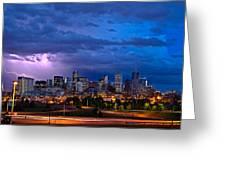 Denver Skyline Greeting Card by John K Sampson