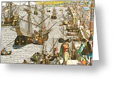 Departure from Lisbon for Brazil Greeting Card by Theodore de Bry