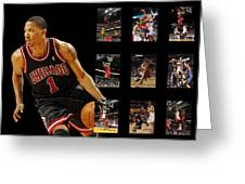 DERRICK ROSE Greeting Card by Joe Hamilton