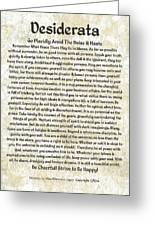 Desiderta Poem On Tuscan Marble Greeting Card by Claudette Armstrong