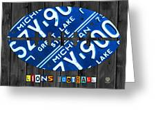 Detroit Lions Football Vintage License Plate Art Greeting Card by Design Turnpike