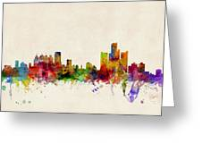 Detroit Michigan Skyline Greeting Card by Michael Tompsett