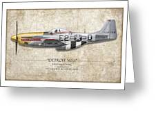 Detroit Miss P-51d Mustang - Map Background Greeting Card by Craig Tinder