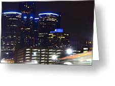 Detroit Night Scape Greeting Card by Rexford L Powell