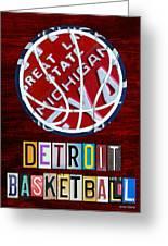 Detroit Pistons Basketball Vintage License Plate Art Greeting Card by Design Turnpike