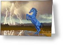 Dia Mustang Bronco Lightning Storm Greeting Card by James BO  Insogna