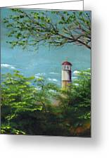 Diamond Head Lighthouse Greeting Card by Sherry Robinson