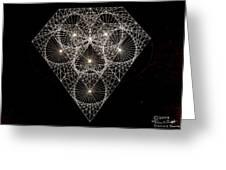 Diamond White And Black Greeting Card by Jason Padgett