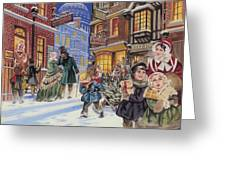 Dickensian Christmas Scene Greeting Card by Angus McBride