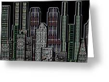 Digital Circuit Board Cityscape 5d - Blacktops Greeting Card by Luis Fournier