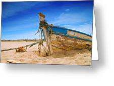 Dilapidated Boat At Ferragudo Beach Algarve Portugal Greeting Card by Amanda And Christopher Elwell