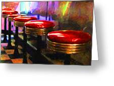 Diner - V2 - Square Greeting Card by Wingsdomain Art and Photography
