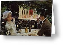 Dinner at Les Ambassadeurs Greeting Card by  Jean Beraud