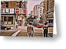Dinner For Two Ben's Restaurant Downtown Scenes Montreal Memories Corner De Maisonneuve Greeting Card by Carole Spandau