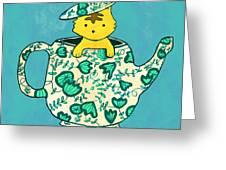 Dinnerware sets kitten in a teapot Greeting Card by Budi Kwan