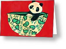 Dinnerware Sets Panda In A Bowl Greeting Card by Budi Satria Kwan
