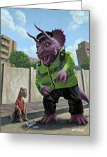 Dinosaur Community Policeman Helping Youngster Greeting Card by Martin Davey