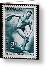 Discus Vintage Postage Stamp Print Greeting Card by Andy Prendy