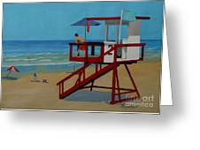 Distracted Lifeguard Greeting Card by Anthony Dunphy