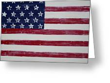 Distressed American Flag Greeting Card by Holly Anderson