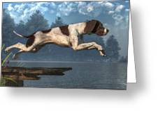 Diving Dog Greeting Card by Daniel Eskridge
