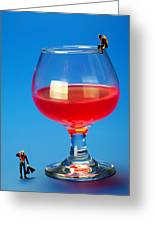 Diving In Red Wine Little People Big Worlds Greeting Card by Paul Ge