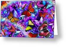 Dizzy Colored Butterfly Explosion Greeting Card by Alixandra Mullins