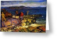 Dock Builders Greeting Card by George Wesley Bellows