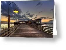 Dock Lights At Jekyll Island Greeting Card by Debra and Dave Vanderlaan