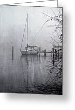 Docked In The Fog - Texture Effect Greeting Card by Brian Wallace