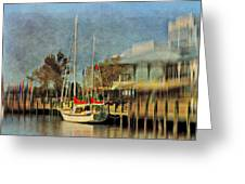 Docked Greeting Card by Kathy Jennings