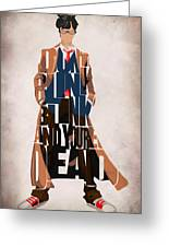 Doctor Who Inspired Tenth Doctor's Typographic Artwork Greeting Card by Ayse Deniz
