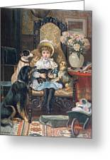 Doddy And Her Pets Greeting Card by Charles Trevor Grand