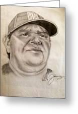 Dodger Legend Valenzuela Greeting Card by Mario  Jimenez