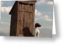 Dog Guarding An Outhouse Greeting Card by Daniel Eskridge