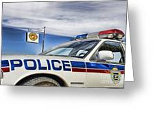 Dog River Police Car Greeting Card by Nicholas Kokil