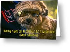 Dog Training Humans Greeting Card by Kathy Tarochione