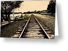 Dog Walk Along The Wayzata Train Tracks Greeting Card by Susan Stone