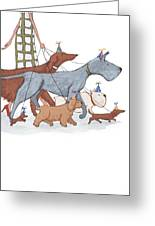 Dog Walker Greeting Card by Christy Beckwith