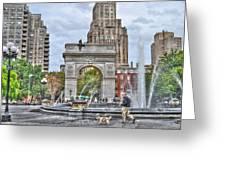 Dog Walking At Washington Square Park Greeting Card by Randy Aveille
