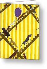 Dogs Going Up Stairs Greeting Card by Christy Beckwith