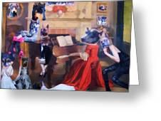 Dogs Heads on Beautiful Women Greeting Card by Lisa Piper Menkin Stegeman