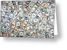 Dollar Background Greeting Card by Olivier Le Queinec
